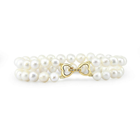 2 Row 6.0-7.0mm High Luster White Freshwater Cultured Pearl Bracelet 7.5""