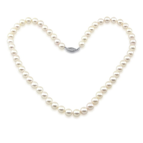 "14k White Gold 7.0-7.5 mm White Saltwater Akoya Cultured High Luster Necklace 18"", AAA Quality."