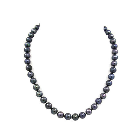 A Grade Black Freshwater Cultured Pearl Necklace(9.0-10.0mm), 18""