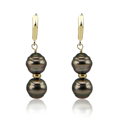 14K Yellow Gold 10.0-11.0mm High Luster Baroque Tahiti Cultured Pearl Lever back Earring