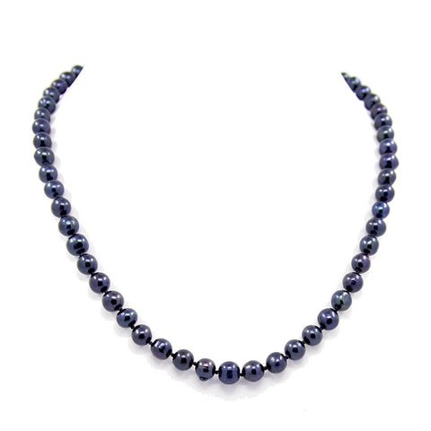 A Quality Black Freshwater Cultured Pearl Necklace(6.5-7.5mm), 19""