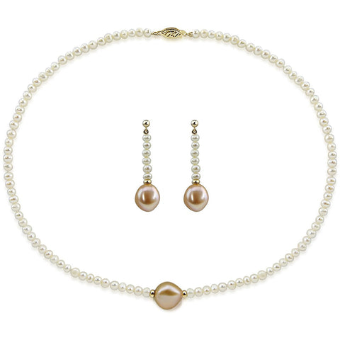 "14k Yellow Gold 12-13mm Pink, 4-5mm White Baroque Freshwater Cultured Pearl Necklace 16"" and earring sets"