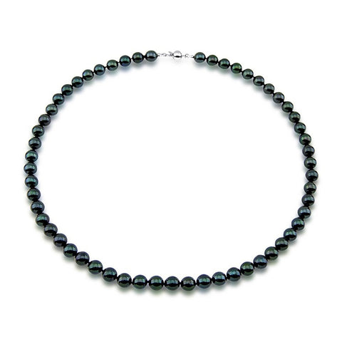 "7.0-7.5mm Black Saltwater Akoya Cultured Pearl High Luster Necklace 18"" with sterling silver clasp"