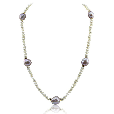 14k Yellow Gold 11-13 mm and 4-5 mm Baroque Lavender and White Freshwater Cultured Pearl Necklace, 16""