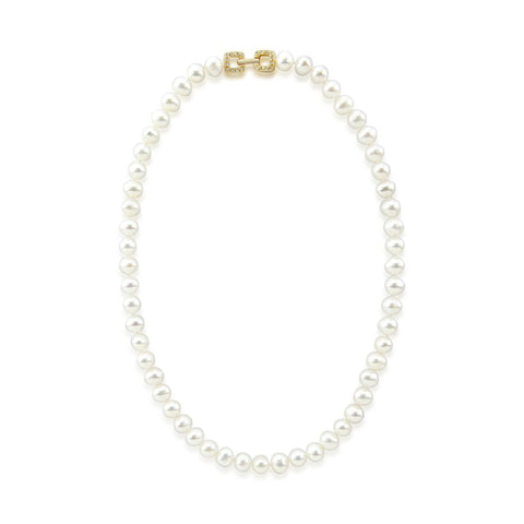 "7.0-8.0mm High Luster White Freshwater Cultured Pearl necklace 18"" with Yellow-Gold-Tone Base Metal Clasp"