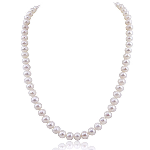 White Freshwater Cultured Pearl Necklace A Quality (7.5-8.0mm), 20 Inches with base metal clasp