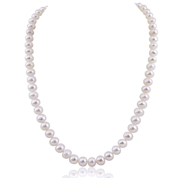 "White Freshwater Cultured Pearl Necklace A quality (6.5-7.0 mm) 20"" with base metal Clasp"