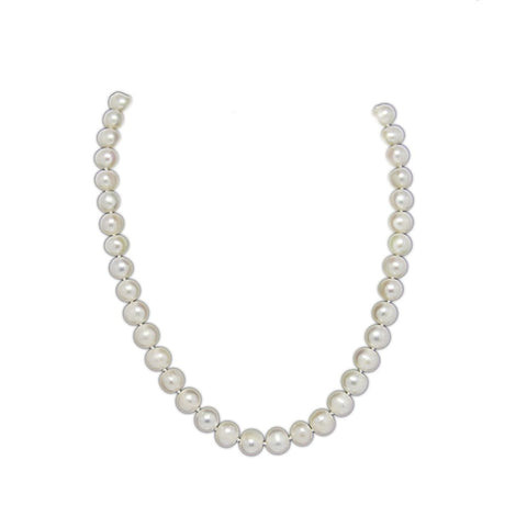 A Grade White Freshwater Cultured Pearl Necklace(9.0-10.0mm), 18""