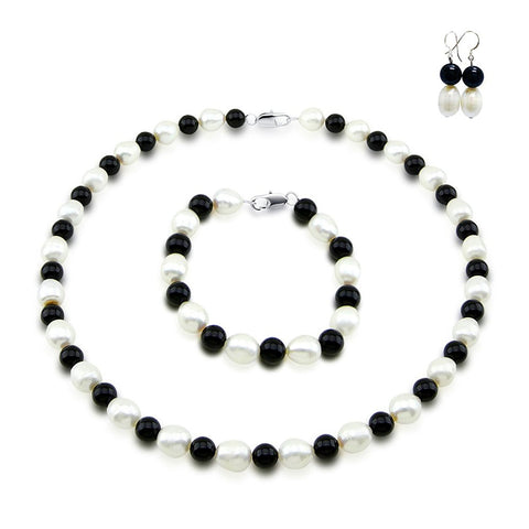 "Classic 9-10mm White Freshwater Cultured Pearl & Black Onyx Necklace 18"", Bracelet 7.5"" and Earring Sets"