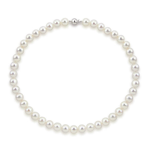 "14k White Gold 9.5-10.5 mm Freshwater Cultured Pearl High Luster Necklace 20"", AAA Quality."