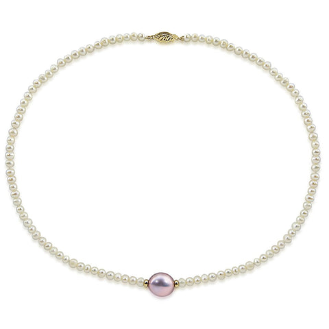 14k Yellow Gold 12-13 mm, 4.0-5.0 mm Baroque Lavender and White Freshwater Cultured Pearl Necklace, 18""