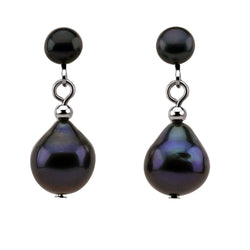Black Freshwater Cultured Pearl Clip on Earrings 5-10mm by PearlPro