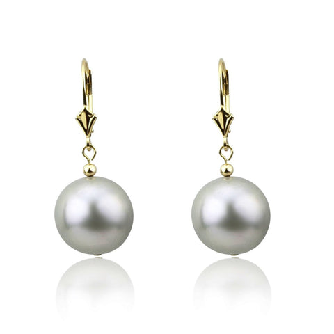 14k Yellow Gold 13.0-14.0mm Round Grey High Luster Freshwater Cultured Pearl Lever-back Earrings-01