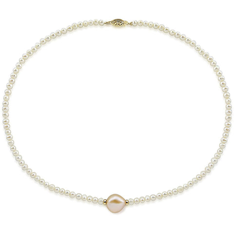 14k Yellow Gold 12-13 mm and 4.0-5.0 mm Baroque Pink and White Freshwater Cultured Pearl Necklace, 16""
