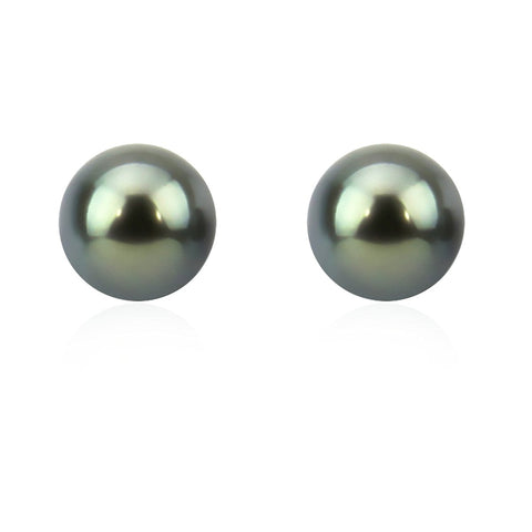 14K Yellow Gold 8.0-9.0mm Elegant Dark Grey Tahitian Cultured Pearl Stud Earrings - AAA Quality