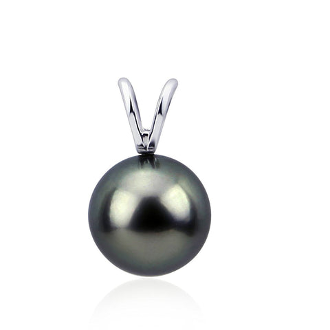14K White Gold 8.0-9.0mm AAA Quality Elegant Dark Grey Tahitian Cultured Pearl Pendant, Pendant Only