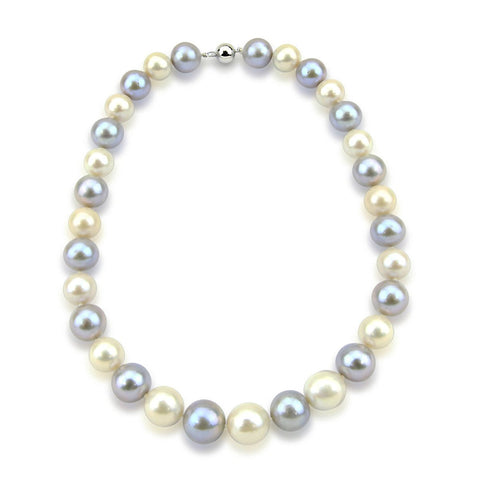 14K White Gold 11-14mm High Quality Grey and White Freshwater Cultured Pearl Necklace 18 Inches