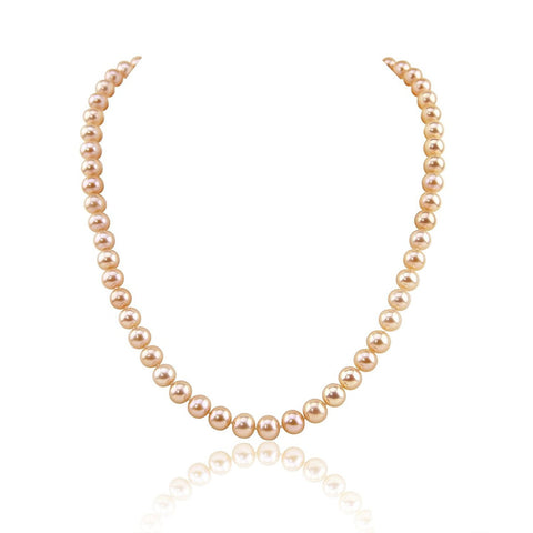 "14K Yellow Gold 7.0-8.0mm Pink Freshwater Cultured Pearl Necklace, 18"" Length - AAA Quality"