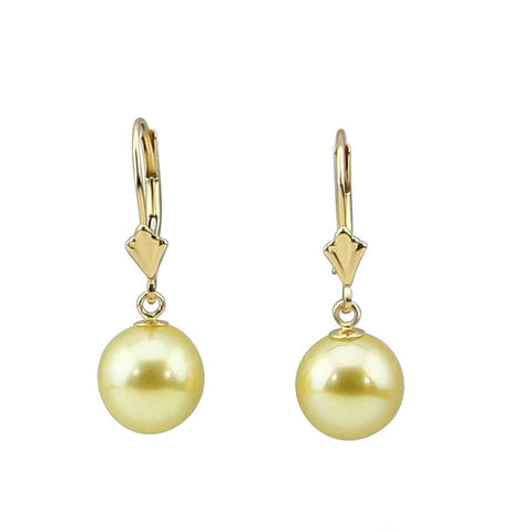 14k Yellow Gold 9.0-10.0mm Golden South Sea Cultured Pearl Lever-back Earrings-02- AAA Quality