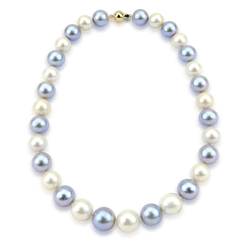 14K Yellow Gold 11-14mm Grey and White Freshwater Cultured Pearl Necklace 18 Inches