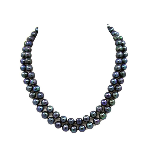"2-row Black A Grade Freshwater Cultured Pearl Necklace(9.0-10.0mm), 17"", 18.5"""