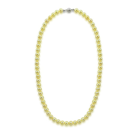 "14k White Gold 7.0-7.5mm Golden Akoya Cultured Pearl High Luster Necklace 18"", AAA Quality."