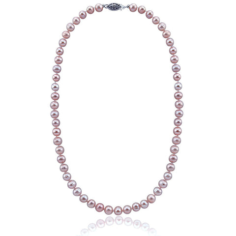 Lavender Freshwater Cultured Pearl Necklace A Quality (6.5-7.0mm), 19 inch With base metal Clasp