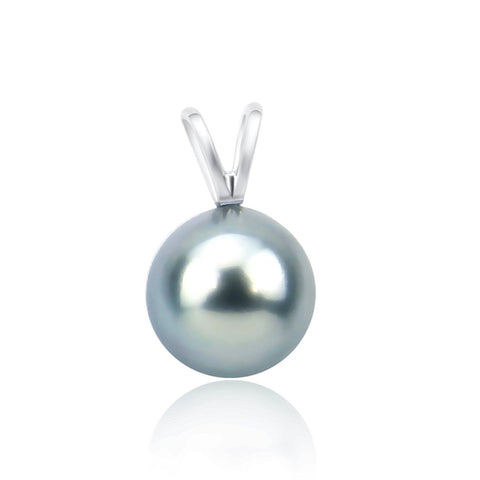 14K White Gold 9.0-9.5mm AAA Quality Grey Tahitian Cultured Pearl Pendant, Pendant Only