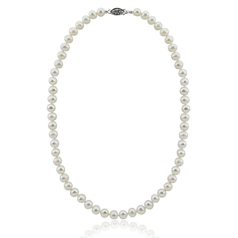 "8-9mm White Hand-picked Genuine Freshwater Cultured Pearl Necklace 18"" with Base metal clasp"