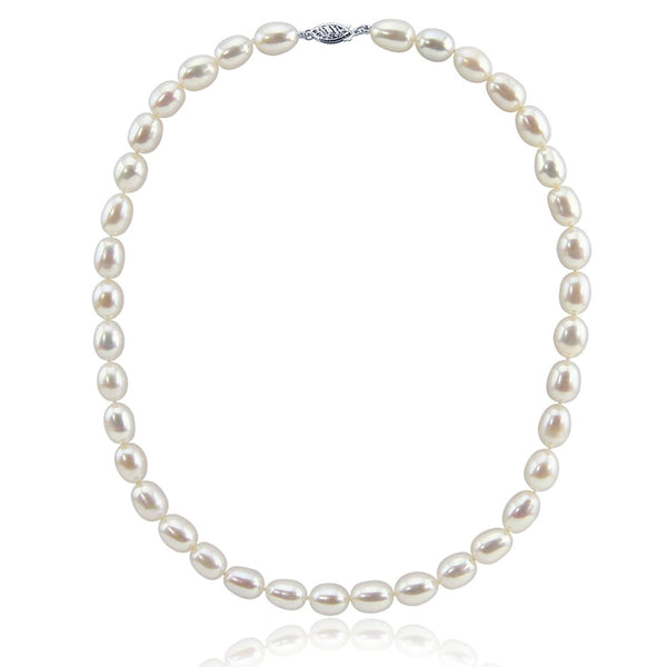 14K White Gold 8.0-9.0 mm Ultra Luster White Oval Freshwater Cultured Pearl necklace 18""