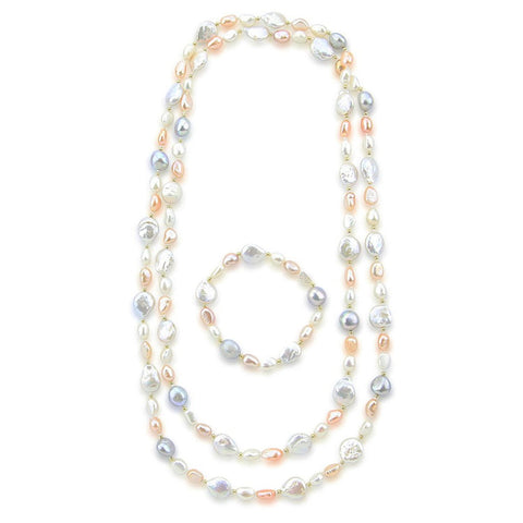 "Multi Color Baroque Freshwater Cultured Pearl Endless Necklace (6-13 mm) 50"" and Bracelet 7.5"" Sets"