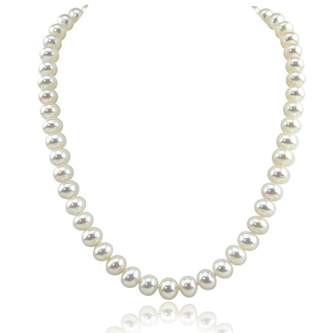 14K White Gold 8.5-9.5 mm Ultra Luster White Freshwater Cultured Pearl necklace 18 Inches (18, white-gold)