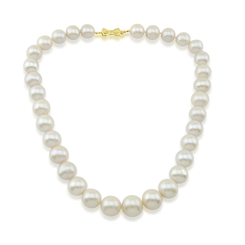 14K Yellow Gold 11-15mm White Freshwater Cultured Pearl Necklace 17 Inches Queen Style