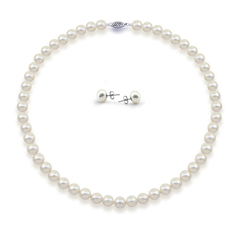 "14K White Gold 8.0-9.0mm High Luster White Freshwater Cultured Pearl Necklace 18"" and Earrings Set"