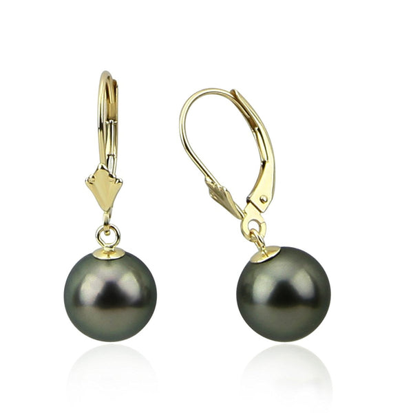 9.0-10.0mm High Luster Perfect Round Tahitian Cultured Pearl Lever-back Earrings-03