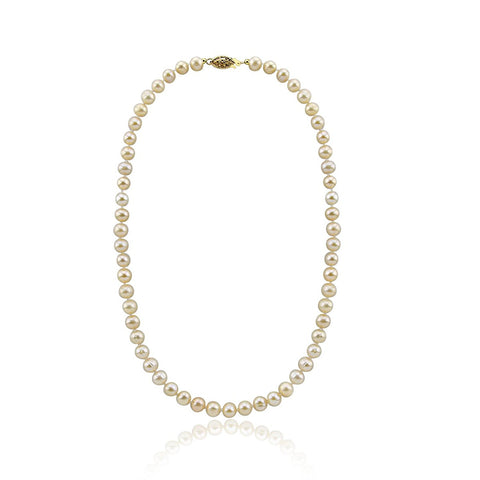 Pink Freshwater Cultured a Quality Pearl Necklace (6.5-7.0mm), 18 Inches