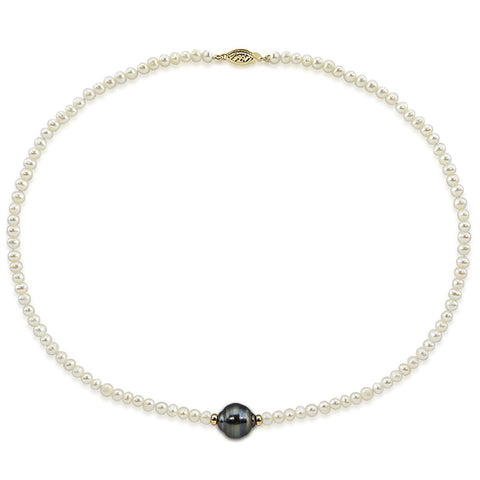 14k Yellow Gold 11-12mm Tahitian Cultured Pearl and 4-5mm White Freshwater Cultured Pearl Necklace,16""