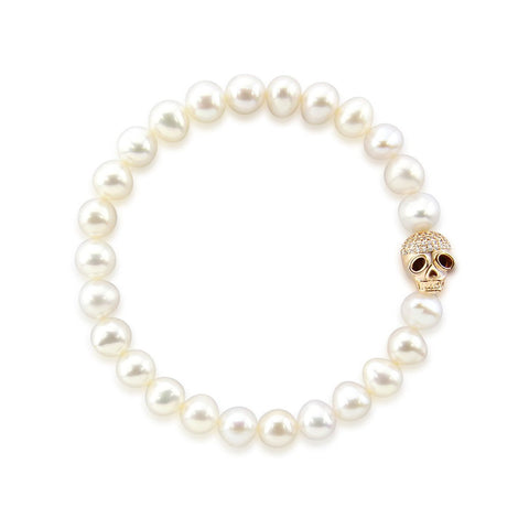 "7.0-8.0mm High Luster White Freshwater Cultured Pearl Bracelet 7.5"" with Skull bead 01"
