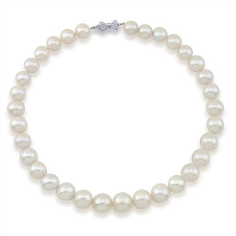 14K White Gold 11-15mm White Freshwater Cultured Pearl Necklace 17.5 Inches Queen Style