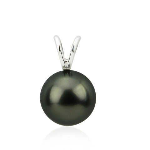 14K White Gold 9.0-10.0mm AAA Quality Perfect Round Black Tahitian Cultured Pearl Pendant, Pendant Only