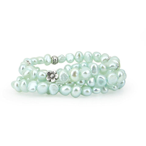 "Genuine Freshwater Cultured Pearl 7-8mm Stretch Bracelets with base-metal-beads (Set of 3) 7.5"" (light blue)"