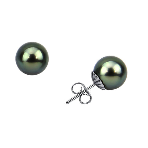 14K White Gold 9.0-10.0mm Tahitian Cultured Pearl Stud Earrings - AAA Quality