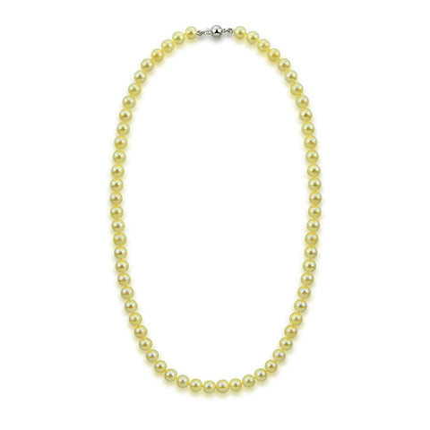 "14k White Gold 6.5-7.0mm Golden Akoya Cultured Pearl High Luster Necklace 20"", AAA Quality."