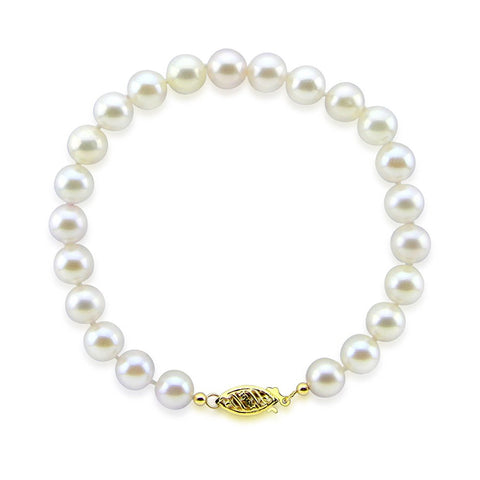 "14K Yellow Gold 7.0-8.0mm White Freshwater Cultured Pearl Bracelet 8.0"" Length - AAA Quality"