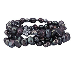 "Genuine Freshwater Cultured Pearl 7-8mm Stretch Bracelets with base-metal-beads (Set of 3) 7.5"" (Dark-Chocolate-Brown)"