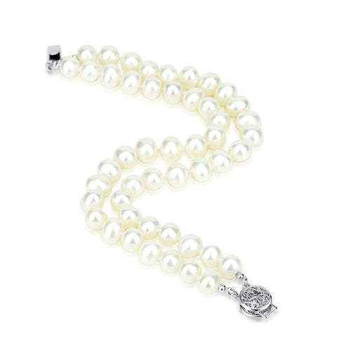 "2 Rows 6.5-7.5mm White Freshwater Cultured Pearl High Luster Bracelet 7.5"" Length"