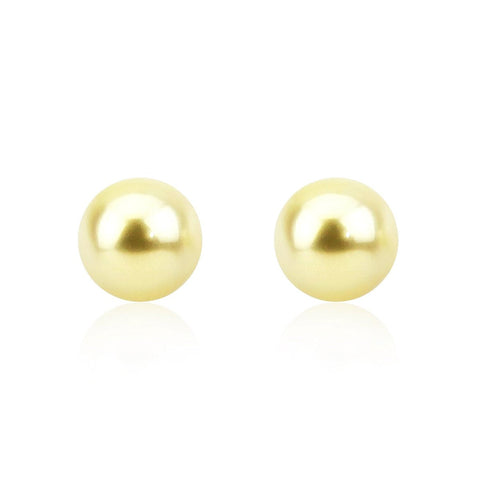 14K White Gold 9-10mm Natural Light Golden South Sea Cultured Pearl Stud Earrings - AAA Quality