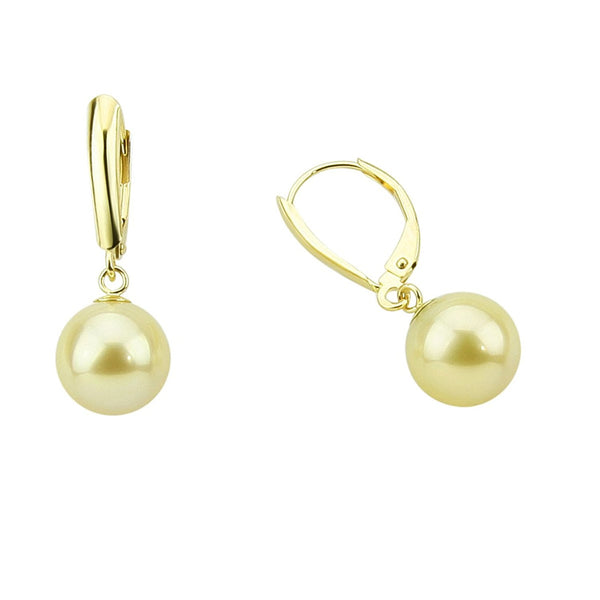 14k Yellow Gold 9.0-10.0mm Light Golden South Sea Cultured Pearl Lever-back Earrings- AAAA Quality