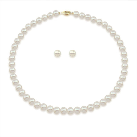 "14K Yellow Gold 8.0-9.0mm White Freshwater Cultured Pearl Necklace 18"" and Earrings Set"