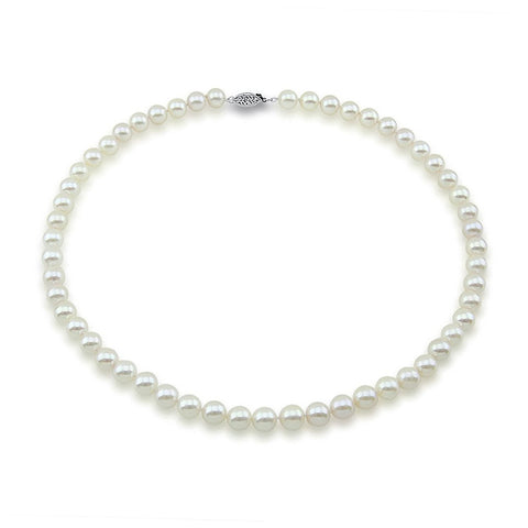 "14k White Gold 7.5-8.0mm White Akoya Cultured Pearl High Luster Necklace 18"", AAA Quality."